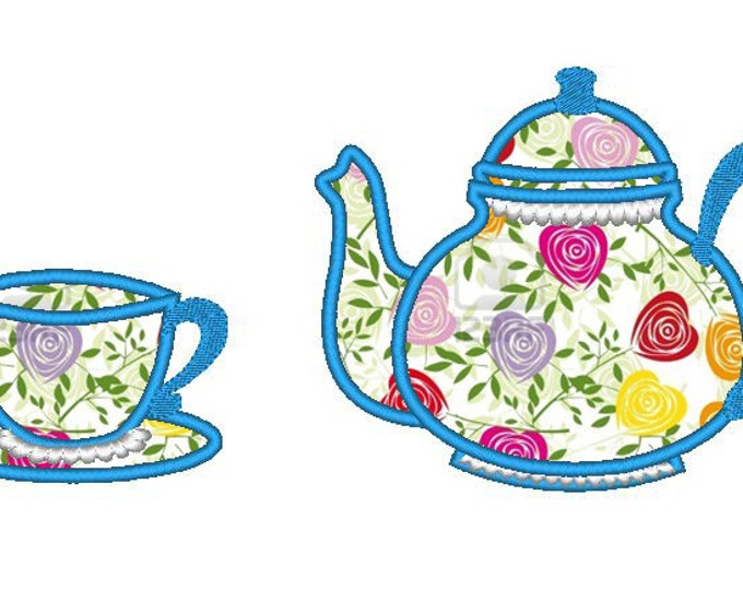 Tea cup and teapot single files set - machine embroidery applique designs for hoop 4x4, 5x7 INSTANT DOWNLOAD