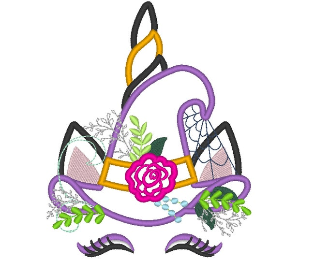Witchy Halloween hat Unicorn head with shabby chick roses flowers crown applique machine embroidery designs Rainbow unicorn face fall
