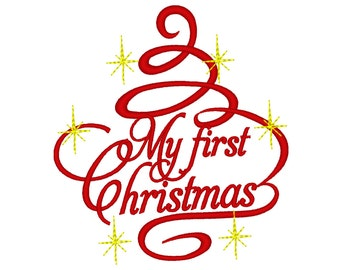 My First Christmas baby Christmas tree curly swirl sparkle stars machine embroidery designs hoop 4x4 and 5x7 adorn silhouette monogram style