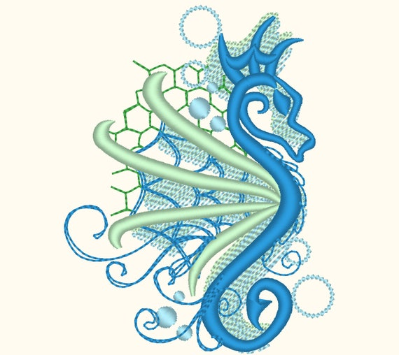 awesome curl and stunning seahorse shadow embroidery designs etsy