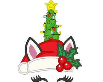 Christmas Unicorn head with Christmas tree and lights applique machine embroidery designs unicorn faceMerry Christmas