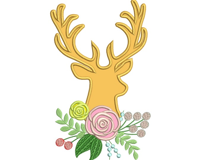 Buck Deer flowers bouqet shabby shick Silhouette  - Machine embroidery designs - Deer flowers boho embroidery applique INSTANT DOWNLOAD