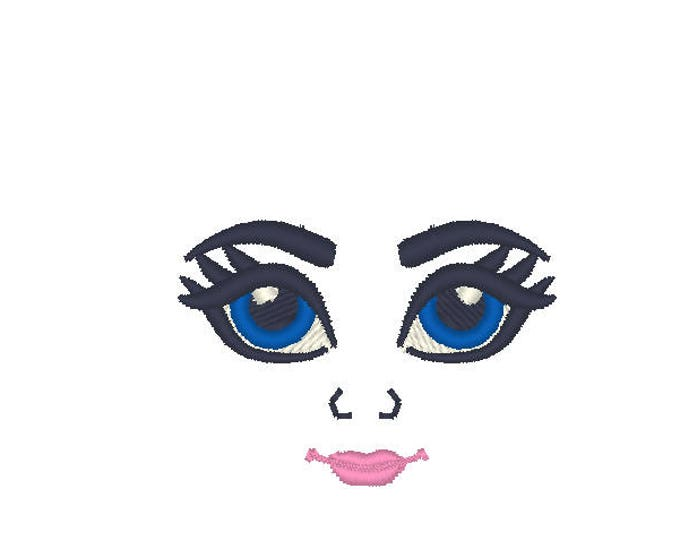 Mini small embroidered Dolls face, pretty doll eyes - machine embroidery designs, complete faces, doll making assorted sizes 1.5 up to 4in