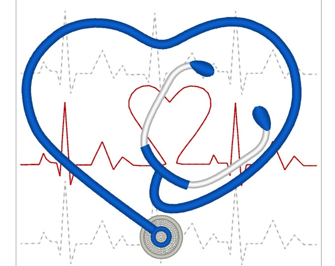 Stethoscope embroidery, doctor and nurse Stethoscope heart, medical device auscultation heartbeat machine embroidery designs 3, 4, 5 inches