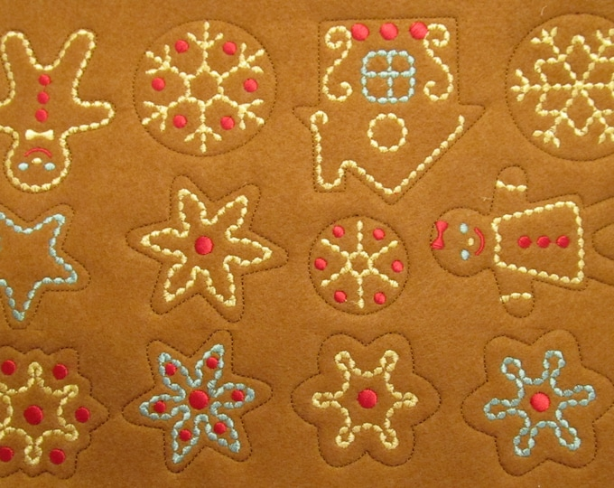 Sweet home Christmas Gingerbread in-the-hoop project feltie - machine embroider designs - ITH (in the hoop)