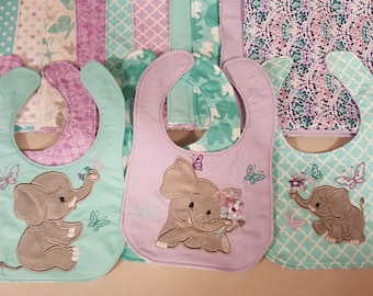 Little Elephants 3 types INSTANT DOWNLOAD applique machine embroidery designs 3, 4 and 5 inches kids baby Elephant with flower and butterfly