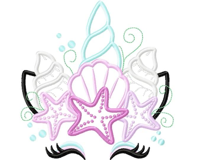 Mermaid Sea Unicorn head with shell and star crown applique machine embroidery designs Summertime unicorn face nautical, sea
