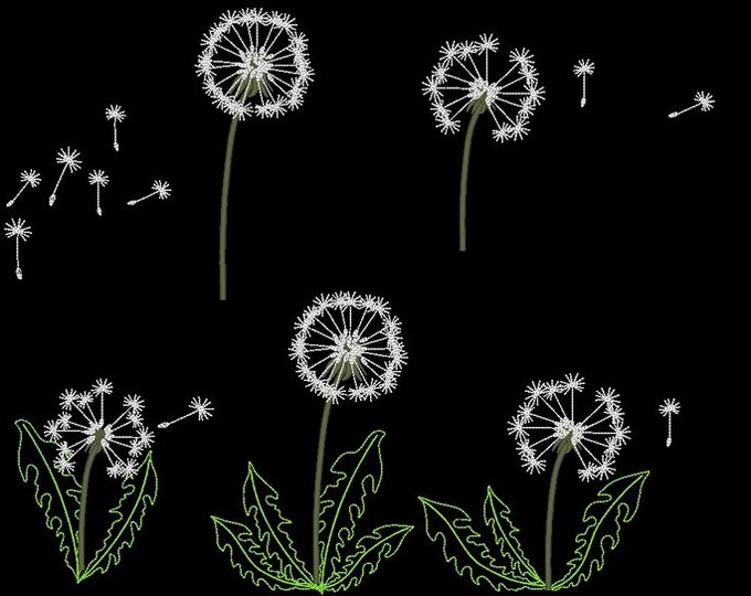 Dandelion set - machine embroidery designs, for hoop 4x4 and 5x7 INSTANT DOWNLOAD