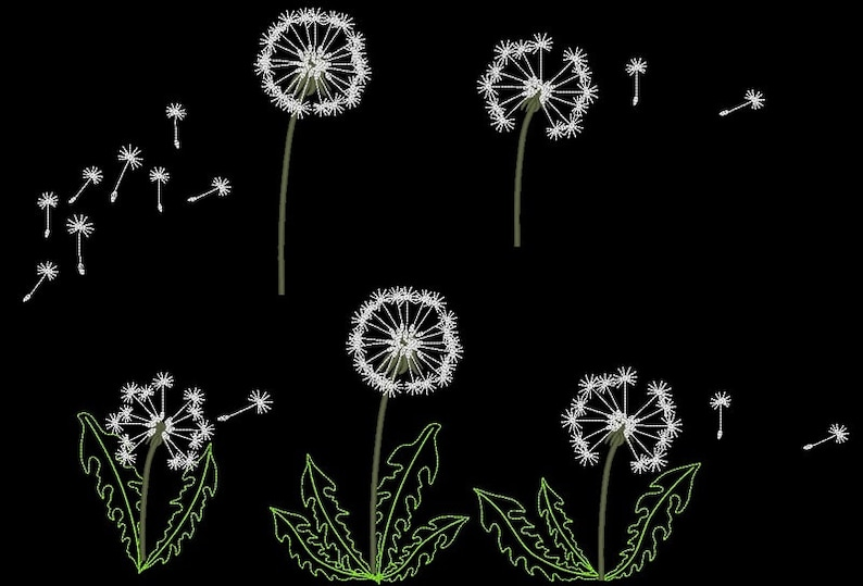 Dandelion set  machine embroidery designs for hoop 4x4 and image 0
