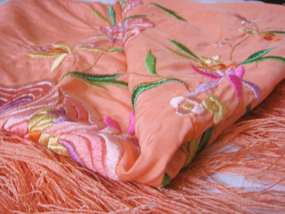 Vintage Embroidered Silk Piano Shawl - image 4