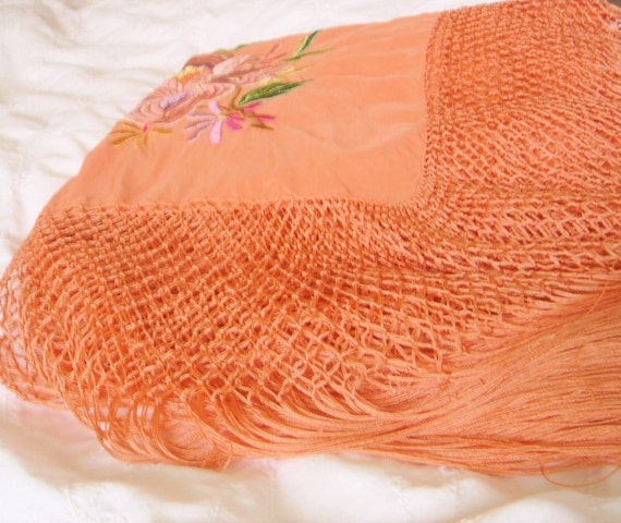 Vintage Embroidered Silk Piano Shawl - image 3
