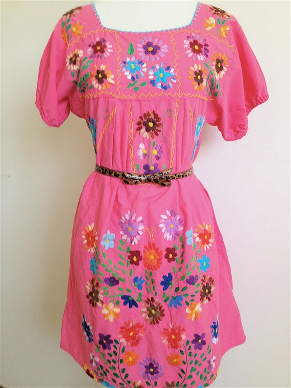 Pink Embroidered Mexican Peasant Dress/Blouse