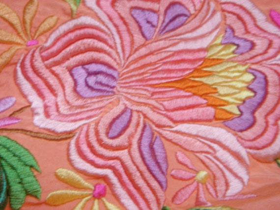 Vintage Embroidered Silk Piano Shawl - image 2