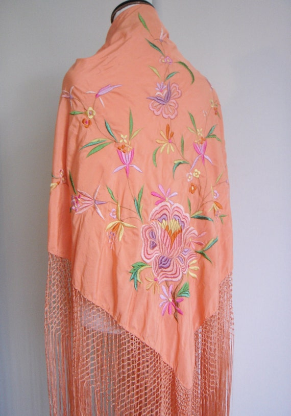 Vintage Embroidered Silk Piano Shawl
