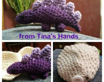 Hatching Stegosaurus hand crocheted Made To Order