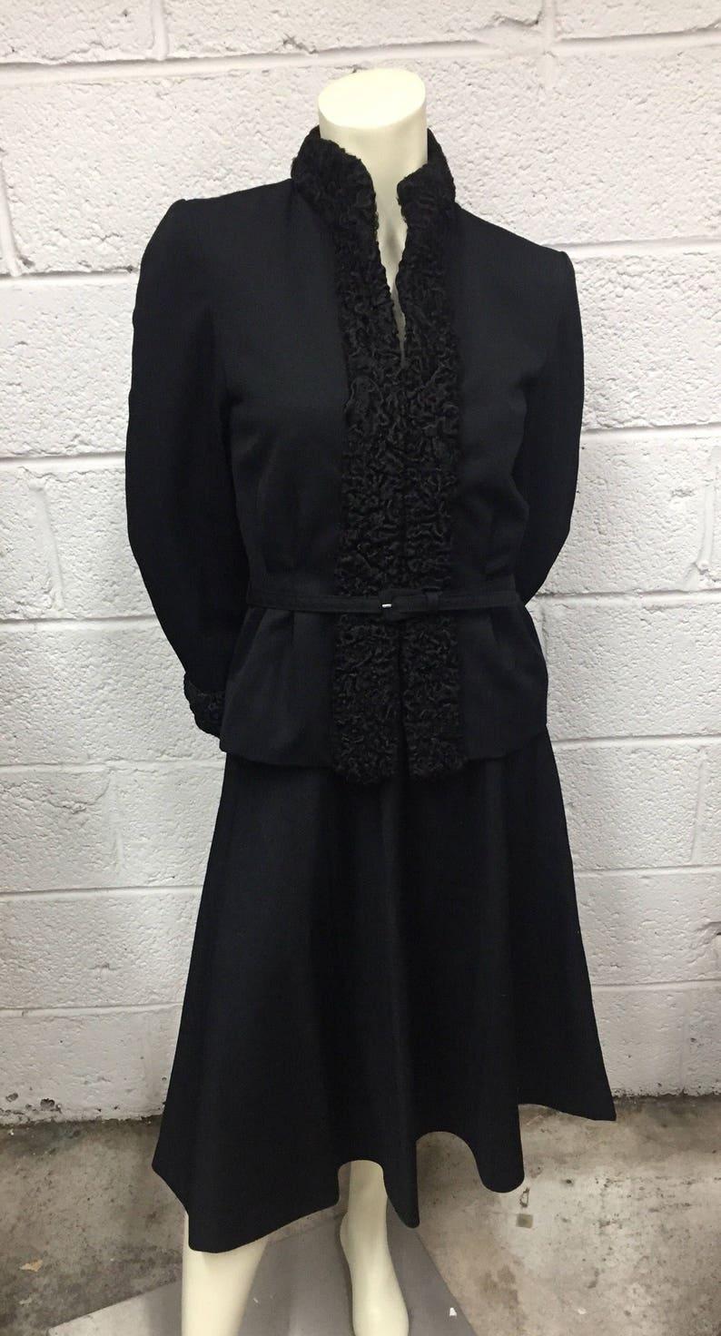 Gabardine Black Skirt Suit with Lamb\u2019s Wool Trim 1940s