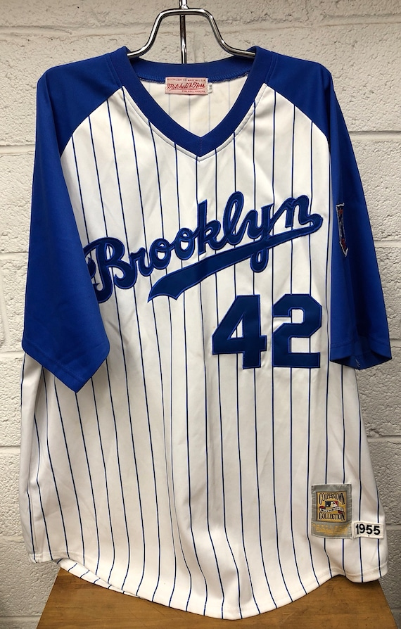 official photos b5e6c 23303 Jackie Robinson Brooklyn Dodgers Pinstriped Jersey Mitchell & Ness  Cooperstown Collection 1955