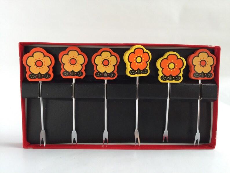 Mod Party Picks Set of 6 Vintage Japanese Wooden Flowers 1970s