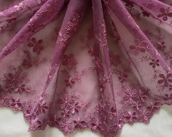 2 Yards Lace Trim Purple Floral Embroidered Tulle Lace 8.26 Inches Wide High Quality
