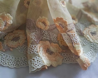 2 Yards Lace Trim Yellow Floral Embroidered Tulle Lace 9.25 Inches Wide High Quality