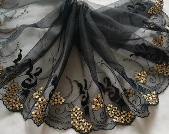 3 Colors 2 Yards Lace Trim Floral Flower Embroidered Black Tulle Lace 8.66 Inches Wide High Quality