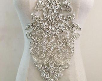 f1fd9ad540 Gorgeous Rhinestone Crystal Applique For Bridal Accessories Wedding Dress  Sash Haute Couture Costume Embellishment 3 Colors