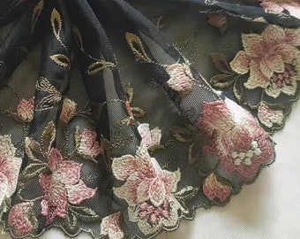 2 Yards Lace Trim Pink Floral Embroidered Black Tulle Lace 7.28 Inches Wide High Quality