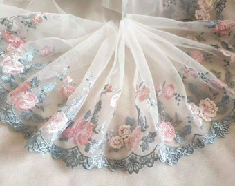 2 yards Lace Trim Black Tulle Exqusite Blue Embroidery Floral Wedding Dress Lace 7.87 inches width High Quality