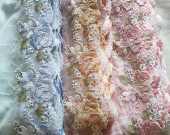 3 Colors 2 Yards Lace Trim Floral Roses Flower Embroidered Tulle Lace 8.66 Inches Wide High Quality