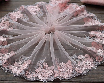 """4 Colors 2 Yards Lace Trim Flowers Floral Embroidered Tulle Lace 8.26"""" Wide Doll Dress Underwear Costume DIY Craft Supplies"""