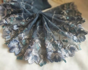 2 Yards Lace Trim Floral Flowers Embroidered Grey Tulle Lace 6.69 Inches Wide High Quality