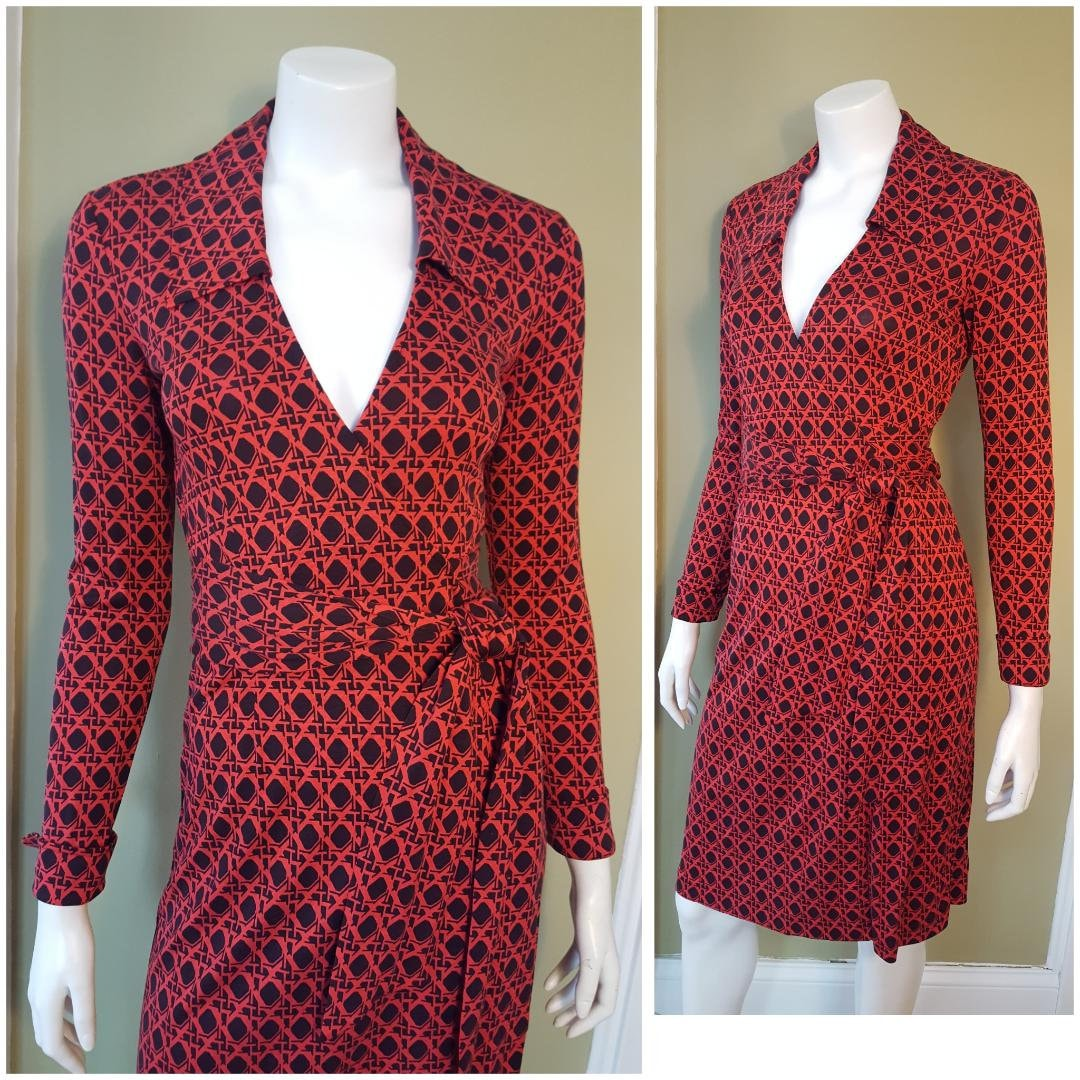 Diane Von Furstenberg DVF Wrap Dress Vintage 90s Silk Jersey Red & Black Geometric Print Jeanne Style Black Label XS 0 2
