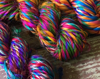 Recycled Thrum Silk Yarn, Multicolor, Super Bulky, Handspun, 3.5 oz / 100 grams, 35 yards, Upcycled, Knit, Crochet, Weave, Jewelry