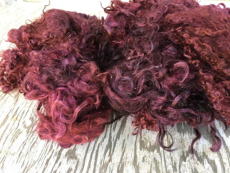 Spinning Maroon Burgundy 2 oz Hand Dyed Mohair Locks in Black Cherry Felting Fine Adult Curly Locks Doll Hair Blending Locks