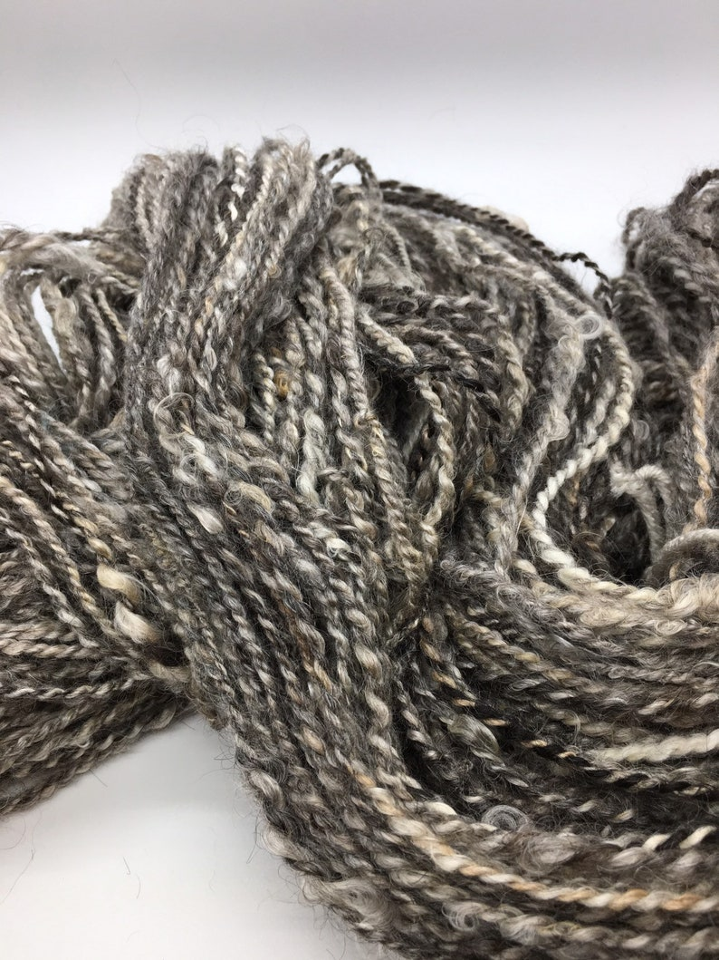 Blacks 2-ply Rustic All Natural 16 oz Natural Colored Undyed Soft Bulky Grays The Dark Side Handspun Mohair Yarn 250 yards