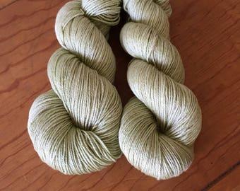"Hand Dyed Merino Silk Yarn, ""Guacamole,"" Sport Weight, 3.5 oz/100 g, 385 yards/350 m, Shades of Green, Soft and Drapey Garment Yarn"