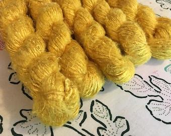 Recycled Banana Silk Yarn, Yellow, Bulky Weight, Handspun, 3.5 oz / 100 grams, 40-50 yards, Upcycled, Knit, Crochet, Weave, Gold, Maize