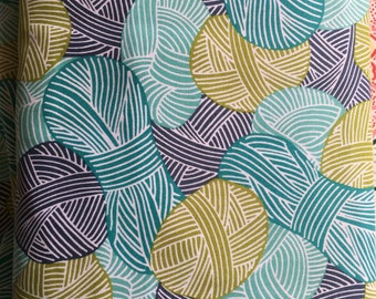 """Organic Cotton Fabric, """"Wound Up,"""" Yarn Print, Blue, Gold, 1 yd, Cloud 9, 100% Organic Cotton, Sewing, Quilting, Clothing, Accessories"""