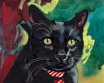 Black Cat Digital  Print of Watercolor Painting. Image of cat for instant download. Watercolor art of cat for Helloween.  Printable Giclee