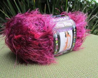 2 skeins Bernat Bling Bling Yarn in Cabaret Crimson Dark Pink Fuchsia