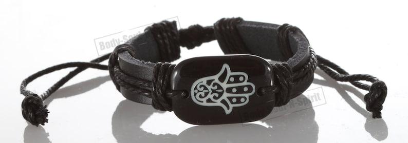 Sacred Hamsa hand Black Leather Bracelet lucky charm Bangle blessings power strength evil eye Wristband Punk Shield #Bl3/_Black/_H00/_Black-1
