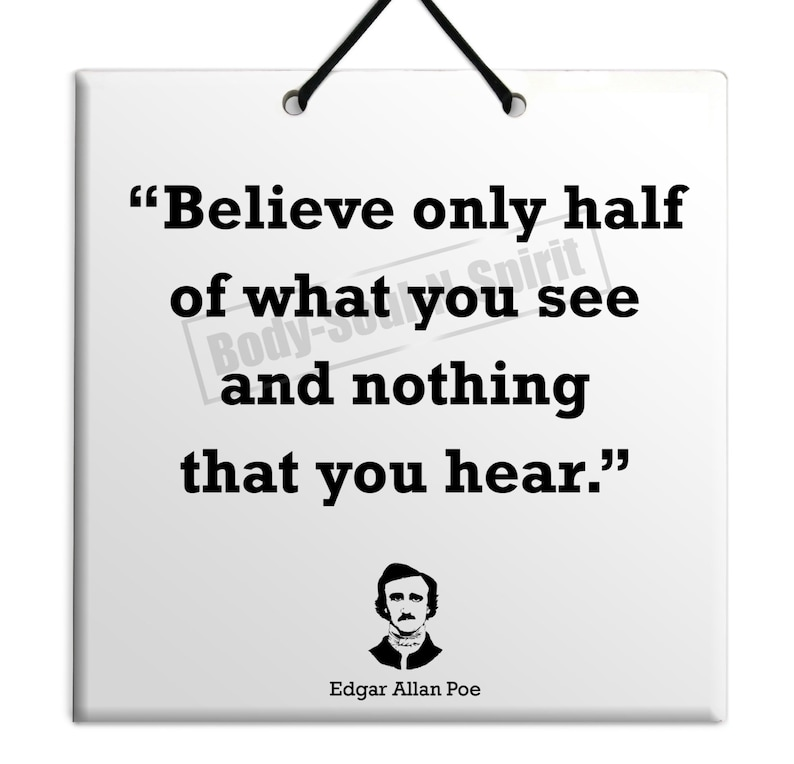 Edgar Allan Poe Believe Only Half Quote Ceramic Sculpture Etsy