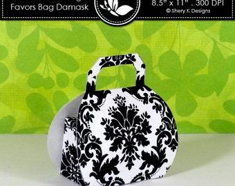 Printable wedding or party favors bag damask