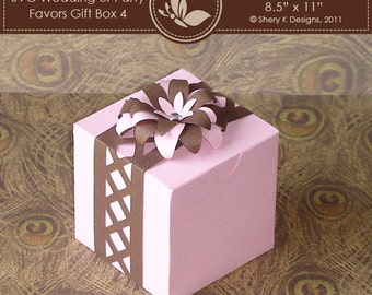 SVG favors gift box 004 with Flower and Border