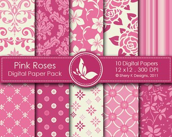 Pink Roses Paper Pack - 10 printable Digital Scrapbooking papers - 12 x12 - 300 DPI