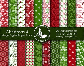 Christmas 4 Mega Paper Pack - 20 Printable Digital papers - 12 x12 - 300 DPI ////// 4