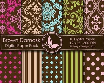 Brown Damask Paper Pack - 10 Printable Digital papers - 12 x12 - 300 DPI