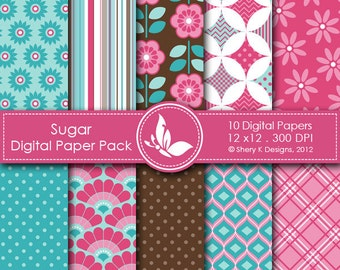 Sugar Paper Pack - 10 printable Digital Scrapbooking papers - 12 x12 - 300 DPI