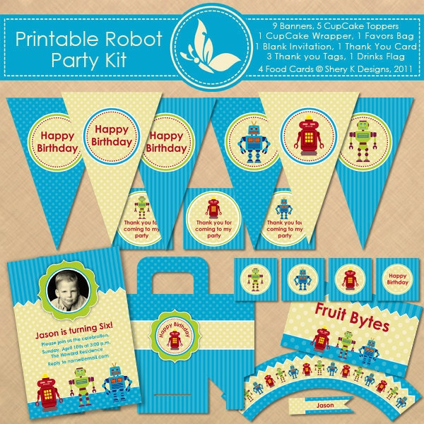 Robot Birthday Party Kit Banners CupCake Toppers Wrapper
