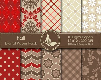Fall Paper Pack - 10 Printable Digital Scrapbooking papers - 12 x12 - 300 DPI